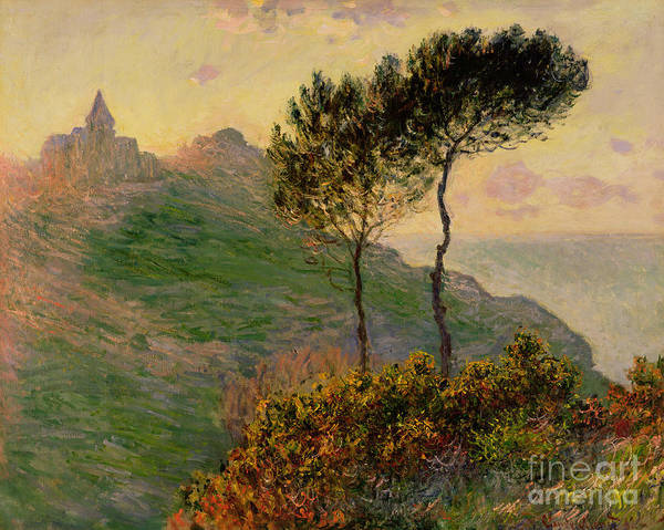 The Church At Varengeville Poster featuring the painting The Church At Varengeville Against The Sunlight by Claude Monet