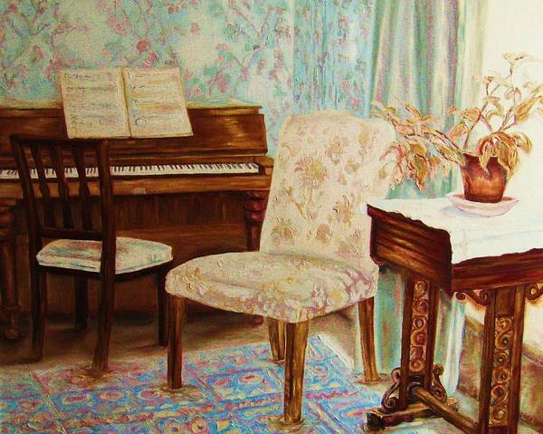 Iimpressionism Poster featuring the painting The Piano Room by Carole Spandau