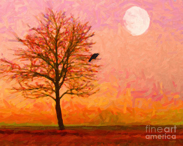 Landscape Poster featuring the photograph The Raven And The Moon by Wingsdomain Art and Photography