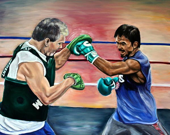 Manny Poster featuring the painting Time In The Ring by Dawn Graham