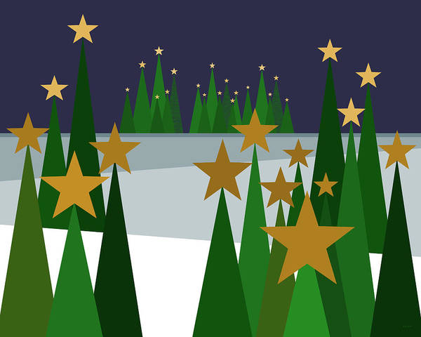 Twinkling Forest Poster featuring the digital art Twinkling Forest by Val Arie