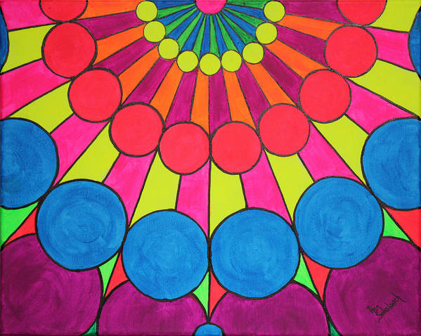 Pop Art Poster featuring the painting Universal Flower 1 by Ann Sokolovich
