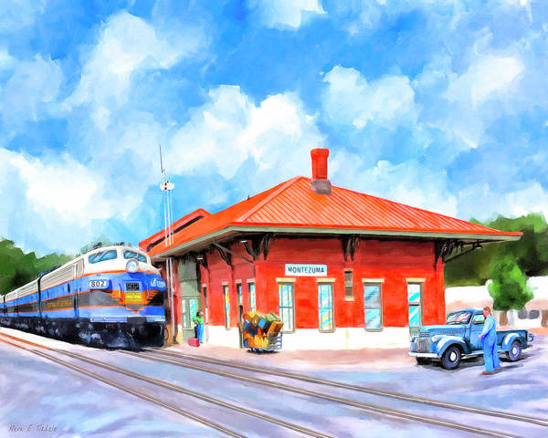 Georgia Poster featuring the painting Echoes Of Railroads Past - Central Of Georgia Depot by Mark Tisdale