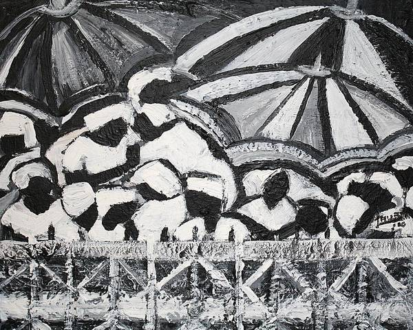 Black And White Poster featuring the painting Waiting In Limbo by Laura Fatta