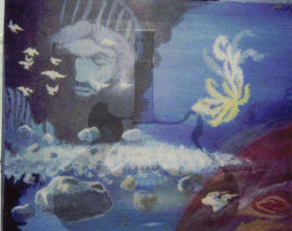 Enton Poster featuring the painting Worlds Merge With Music by Enton Boothe
