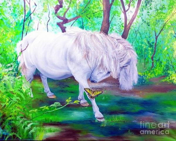 Pony Poster featuring the painting The Butterfly And The Pony by Abbie Shores