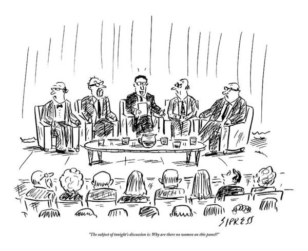 Discsussion Poster featuring the drawing Five Men Sit On A Stage In Front Of An Audience by David Sipress