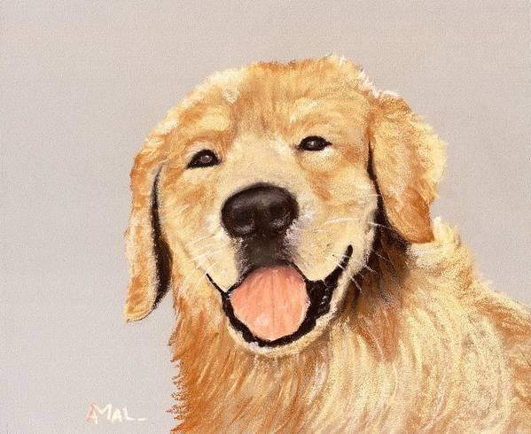 Sheepdog Poster featuring the painting Golden Retriever by Anastasiya Malakhova