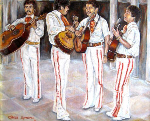 Mariachis Poster featuring the painting Mariachi Musicians by Carole Spandau