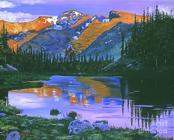 Mountain Poster featuring the painting Rocky Mountain Lake by David Lloyd Glover