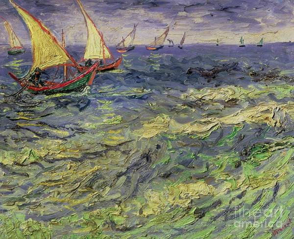 Yacht Poster featuring the painting Seascape At Saintes-maries 1888 by Vincent van Gogh