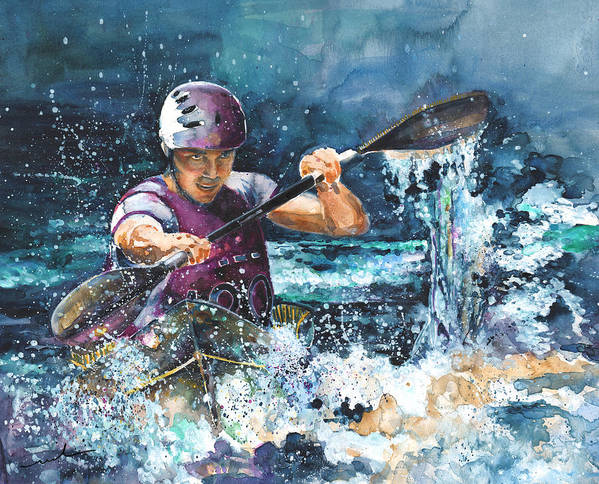 Sports Poster featuring the painting Water Fight by Miki De Goodaboom