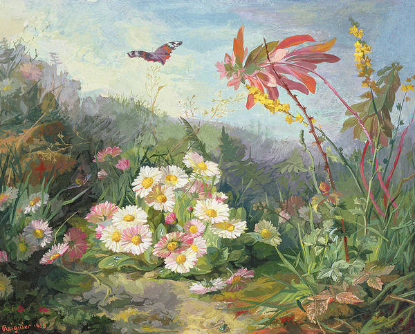 Wild Flowers And Butterfly Poster featuring the painting Wild Flowers And Butterfly by Jean Marie Reignier