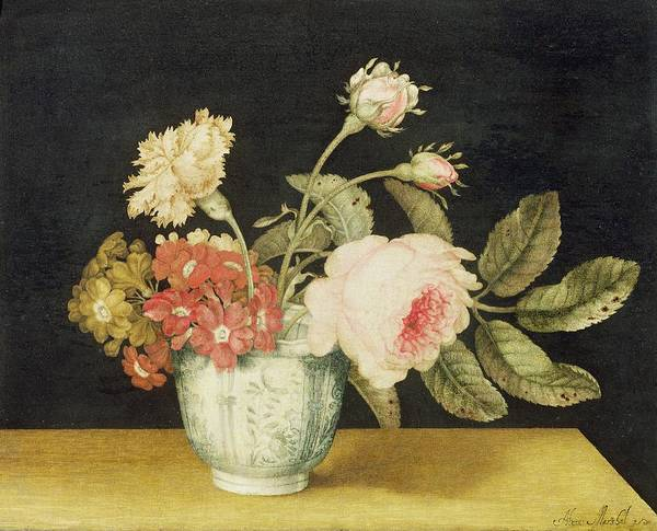 Flowers Poster featuring the painting Flowers In A Delft Jar by Alexander Marshal