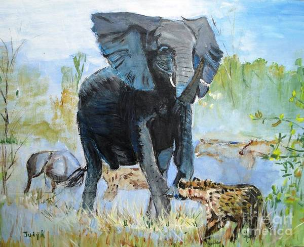 Elephants Poster featuring the painting It's A Jungle by Judy Kay