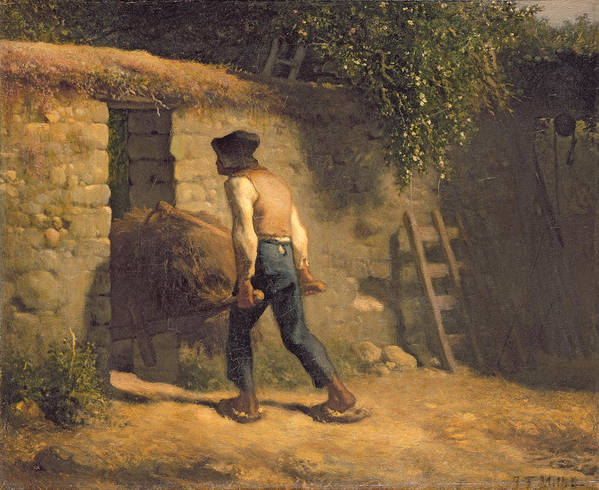 Male Poster featuring the painting Peasant With A Wheelbarrow by Jean-Francois Millet