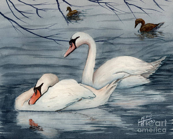 Swans Poster featuring the painting Who Is Minding The Kids by Mohamed Hirji