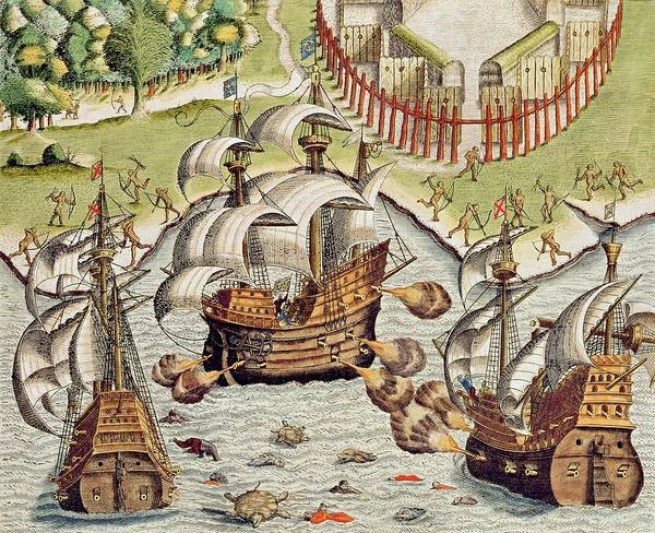 Naval Poster featuring the painting Naval Battle Between The Portuguese And French In The Seas Off The Potiguaran Territories by Theodore de Bry
