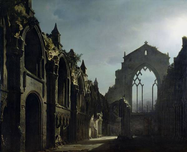 Ruins Of Holyrood Chapel (oil On Canvas) By Louis Jacques Mande Daguerre (1787-1851) Ruin; Remains; Scottish; English Architecture; Gothic; Pointed Arch; Window; Edinburgh; Nocturne; Moonlight; Atmospheric; Ruines; Chapelle; Gothic Poster featuring the painting Ruins Of Holyrood Chapel by Louis Jacques Mande Daguerre