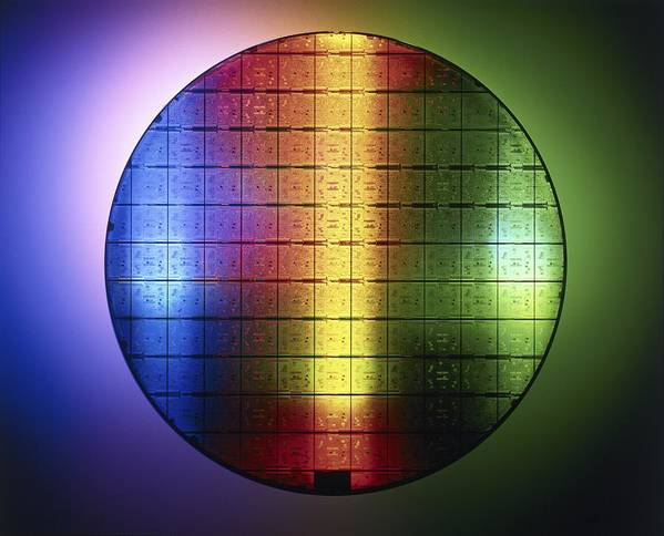 Chip Poster featuring the photograph Semiconductor Wafer by Pasieka