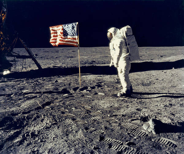 1 Person Poster featuring the photograph Man On The Moon by Neil Armstrong/Underwood Archive