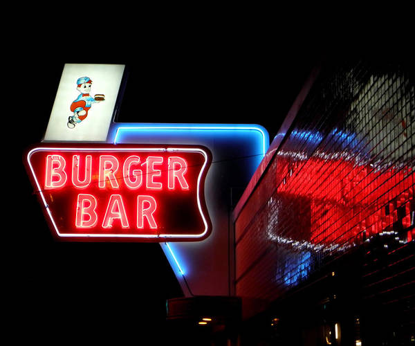 Bristol Poster featuring the photograph Burger Bar Neon Diner Sign At Night by Denise Beverly