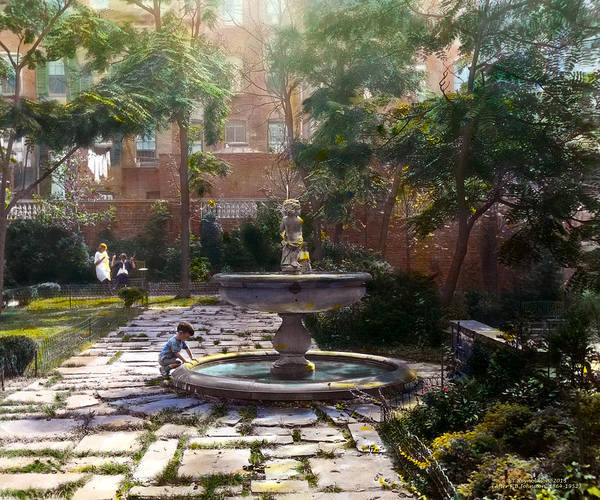 Tranquil Poster featuring the photograph Child And Fountain by Terry Reynoldson