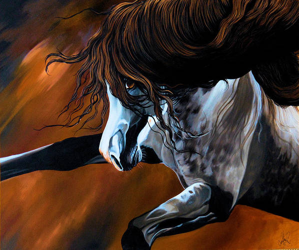 Painting Poster featuring the painting Dream Horse Series 155 - Wild Mustang Pawing The Air by Cheryl Poland
