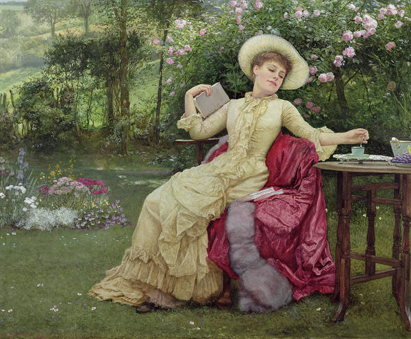 Victorian Poster featuring the painting Drinking Coffee And Reading In The Garden by Edward Killingworth Johnson