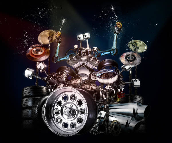 Drum Poster featuring the digital art Drum Machine - The Band's Engine by Alessandro Della Pietra