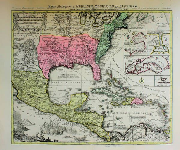 Mexico Florida Map.Historic Map Of Florida And Mexico 1600s Poster By Mountain Dreams