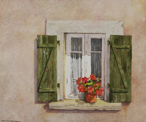 Watercolor Poster featuring the painting Irvillac Window by Mary Ellen Mueller Legault
