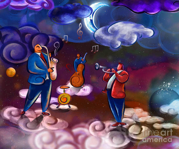 Music Poster featuring the digital art Jazz In Heaven by Bedros Awak