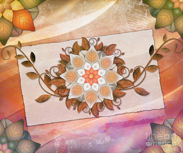 Brown Poster featuring the digital art Leaves Rosette 2 by Bedros Awak