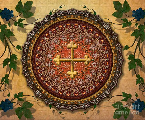 Mandala Poster featuring the digital art Mandala Armenian Cross Sp by Bedros Awak