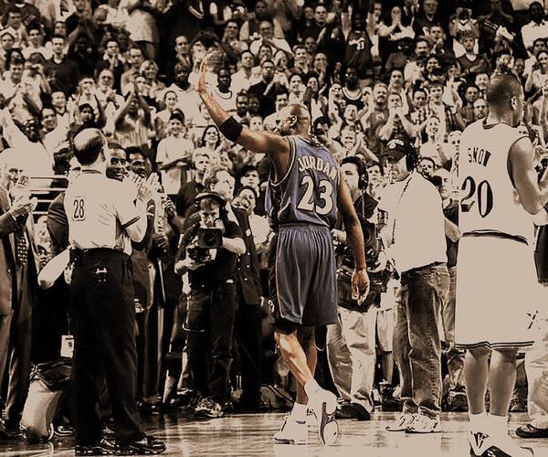 Michael Jordan Poster featuring the digital art Michael Jordan Last Game II by Brian Reaves