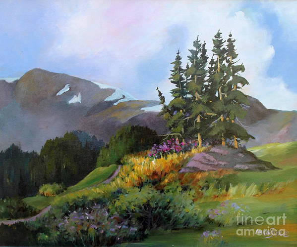 Landscape Poster featuring the painting Mt. Rainier 2 by Marta Styk