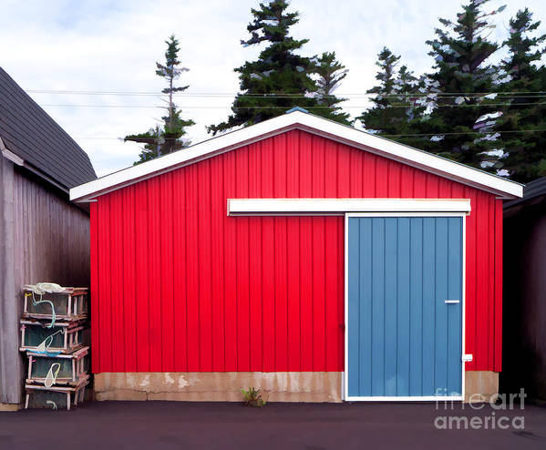 Red Poster featuring the photograph Red Fishing Shack Pei by Edward Fielding