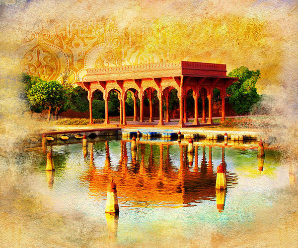 Pakistan Poster featuring the painting Shalimar Gardens by Catf