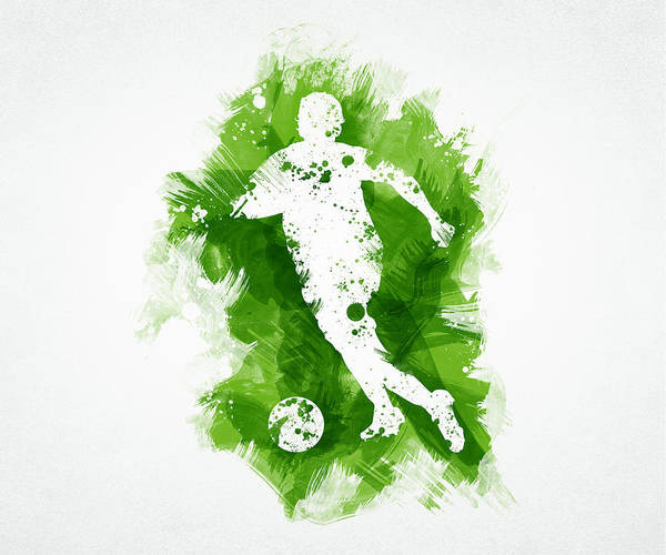 Art Poster featuring the digital art Soccer Player by Aged Pixel