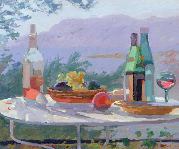 Still Lives Objects Poster featuring the painting Still Life And Seashore Bandol by Sarah Butterfield