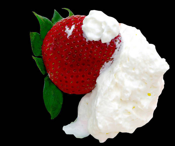 Strawberry Poster featuring the photograph Strawberry And Cream by Camille Lopez