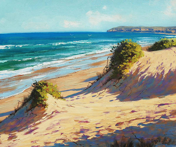 Seascape Poster featuring the painting Summer Day The Entrance by Graham Gercken