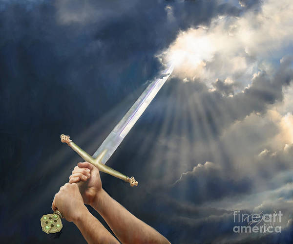 Prophetic Painting Poster featuring the digital art Sword Of The Spirit by Tamer and Cindy Elsharouni