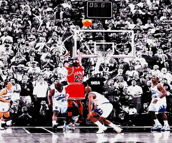 Michael Jordan Poster featuring the digital art The Last Shot by Brian Reaves