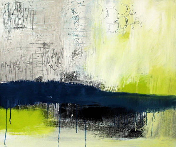 Blue Abstract Painting Poster featuring the painting Turning Point - Contemporary Abstract Painting by Linda Woods