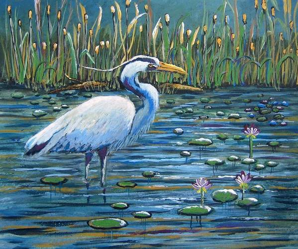 Great Blue Heron Poster featuring the painting Waiting For Lunch by Suzanne Theis