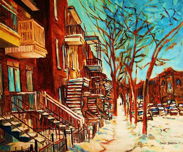 Verdun Paintings By Montreal Street Scene Artist Carole Spandau Poster featuring the painting Winter Staircase by Carole Spandau