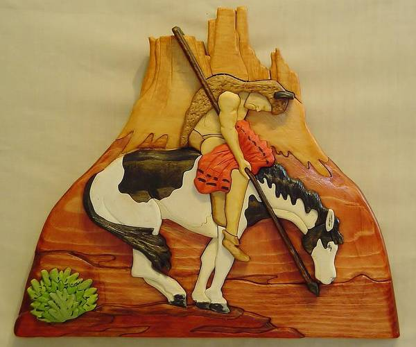 Native American Poster featuring the sculpture End Of Trail by Russell Ellingsworth