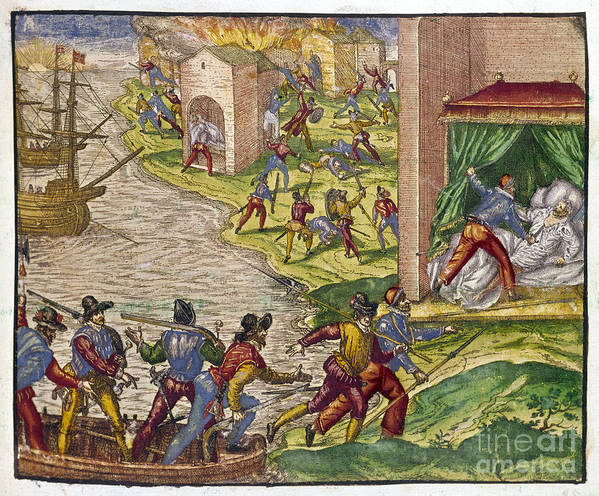 1544 Poster featuring the photograph Sack Of Cartagena, C1544 by Granger